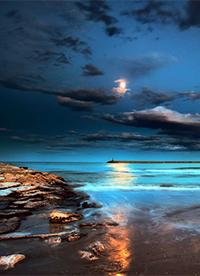 暮色苍茫海边夜景图片欣赏